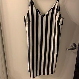 Navy & White Silk Striped Dress